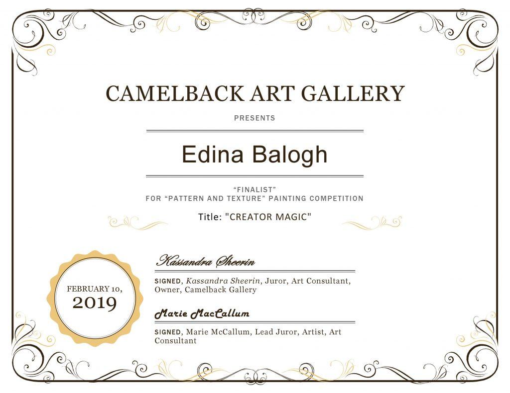 """Balogh Edina - """"Pattern and texture"""" Nemzetközi online festészeti verseny, Döntős díj"""